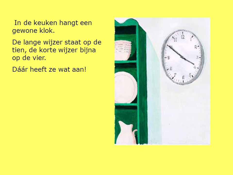 In de keuken hangt een gewone klok.
