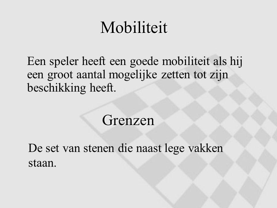 Mobiliteit Een speler heeft een goede mobiliteit als hij een groot aantal mogelijke zetten tot zijn beschikking heeft.