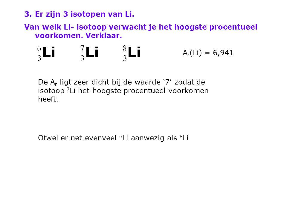 Er zijn 3 isotopen van Li. Van welk Li- isotoop verwacht je het hoogste procentueel voorkomen. Verklaar.