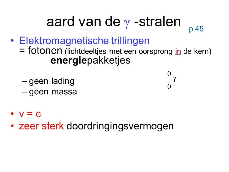 aard van de  -stralen p.45. Elektromagnetische trillingen = fotonen (lichtdeeltjes met een oorsprong in de kern) energiepakketjes.