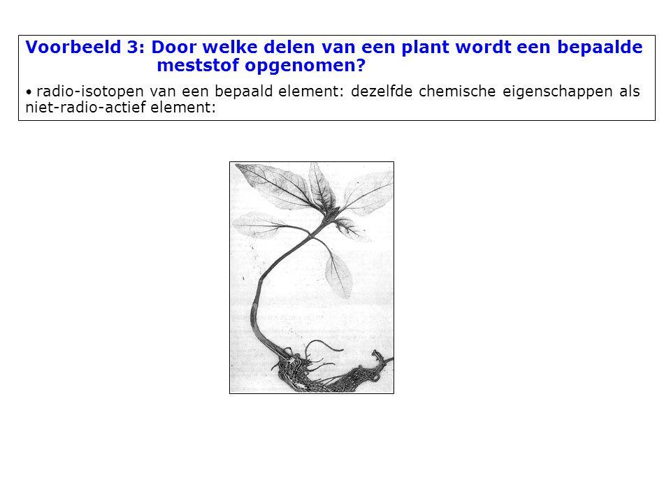 Voorbeeld 3: Door welke delen van een plant wordt een bepaalde meststof opgenomen