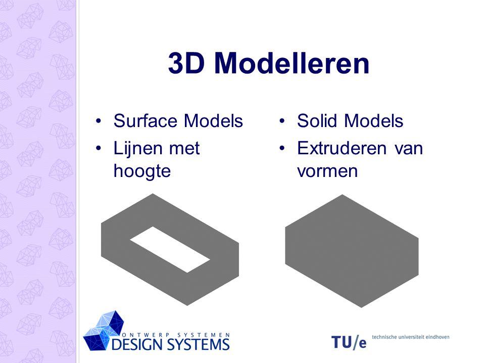 3D Modelleren Surface Models Lijnen met hoogte Solid Models