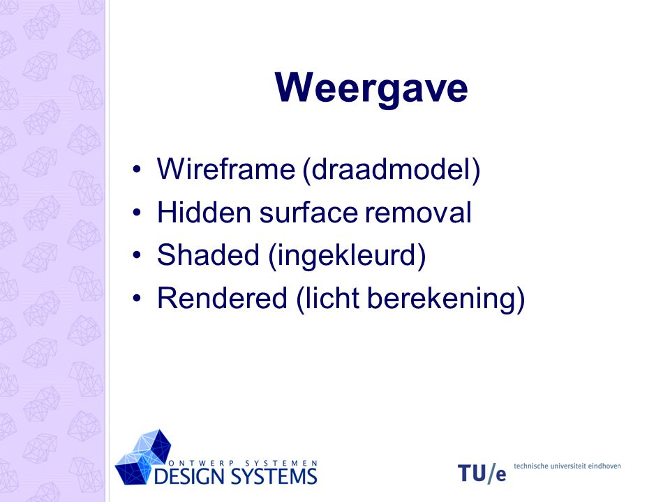Weergave Wireframe (draadmodel) Hidden surface removal