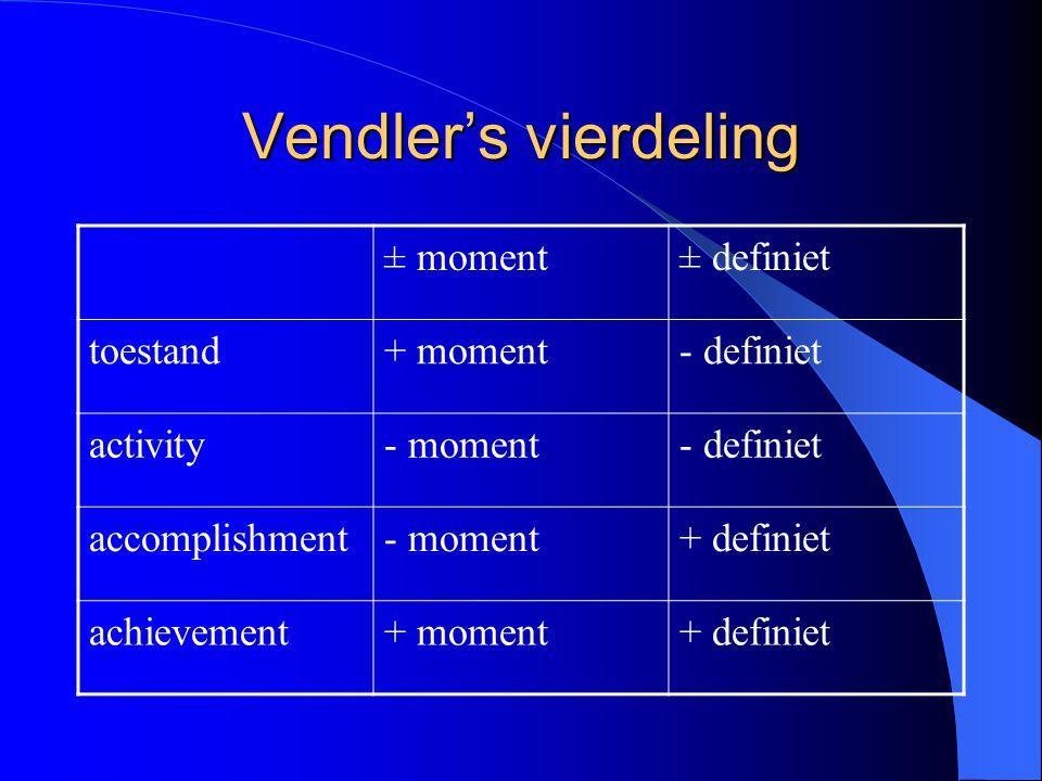 Vendler's vierdeling ± moment ± definiet toestand + moment - definiet