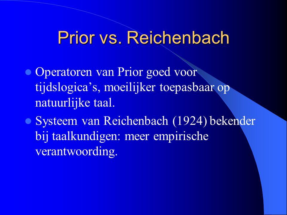Prior vs. Reichenbach Operatoren van Prior goed voor tijdslogica's, moeilijker toepasbaar op natuurlijke taal.