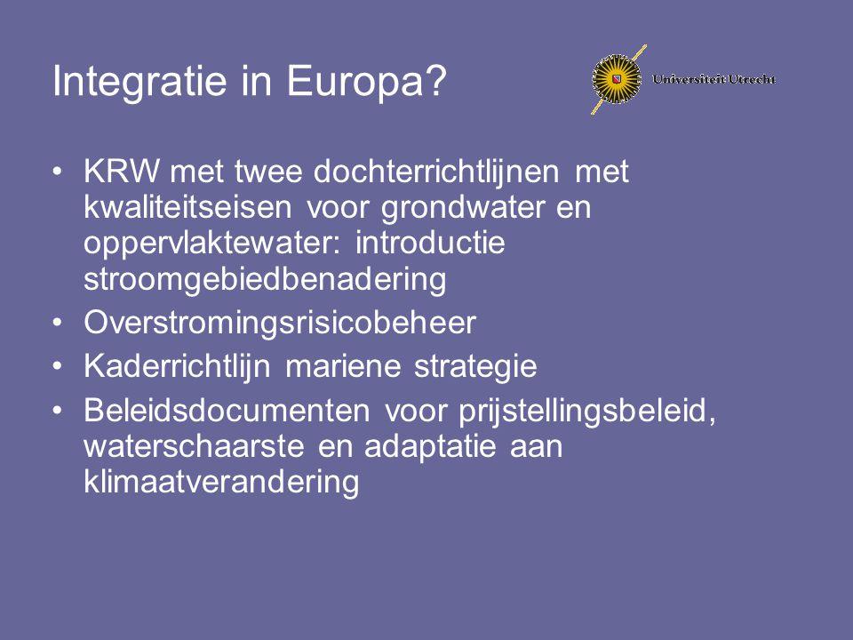 Integratie in Europa KRW met twee dochterrichtlijnen met kwaliteitseisen voor grondwater en oppervlaktewater: introductie stroomgebiedbenadering.
