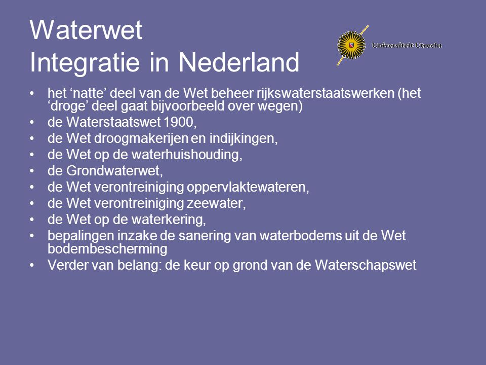 Waterwet Integratie in Nederland