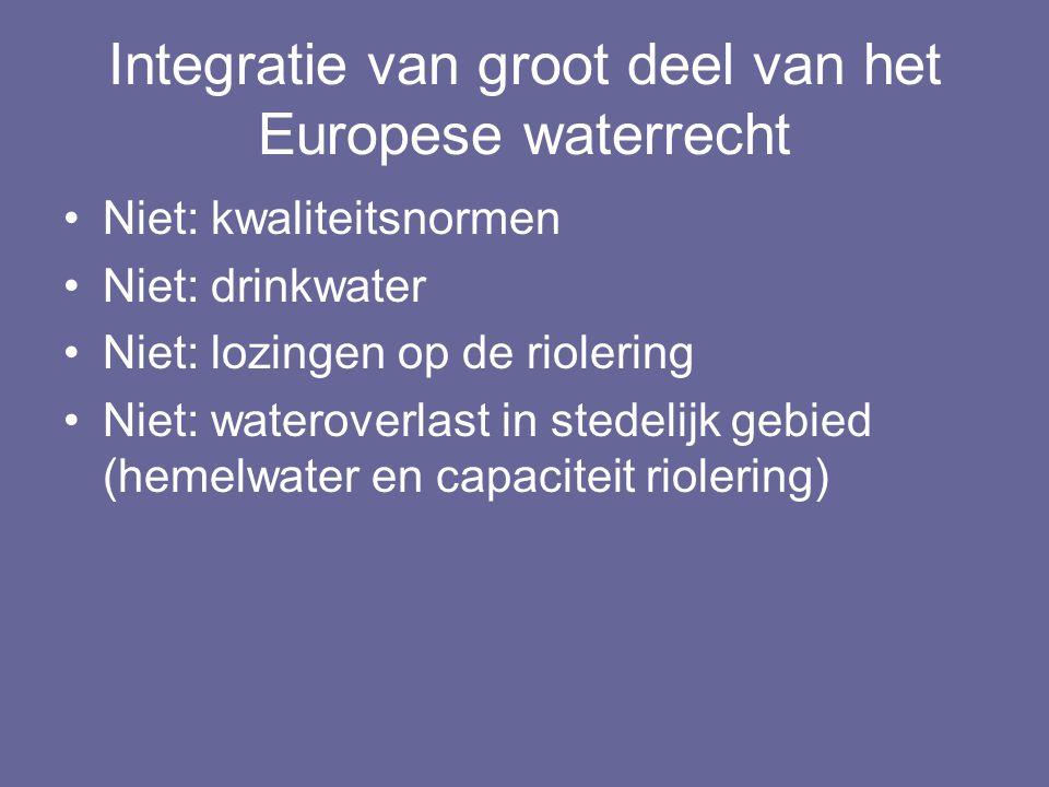 Integratie van groot deel van het Europese waterrecht