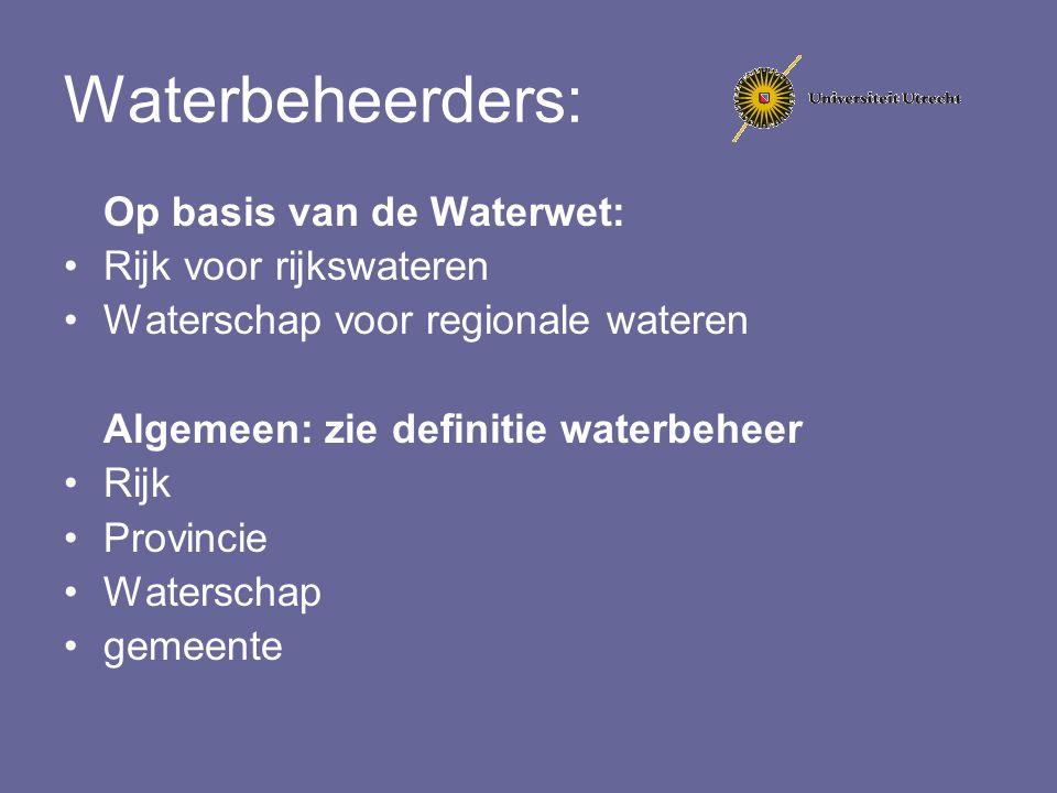Waterbeheerders: Op basis van de Waterwet: Rijk voor rijkswateren