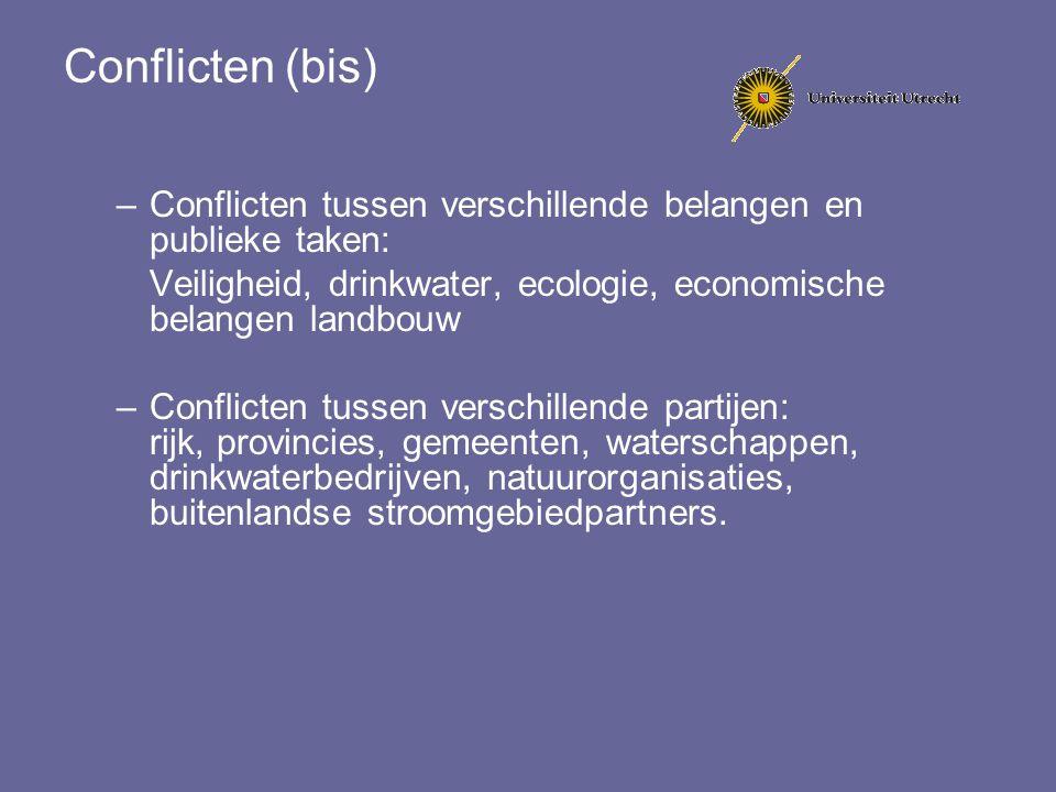 Conflicten (bis) Conflicten tussen verschillende belangen en publieke taken: Veiligheid, drinkwater, ecologie, economische belangen landbouw.