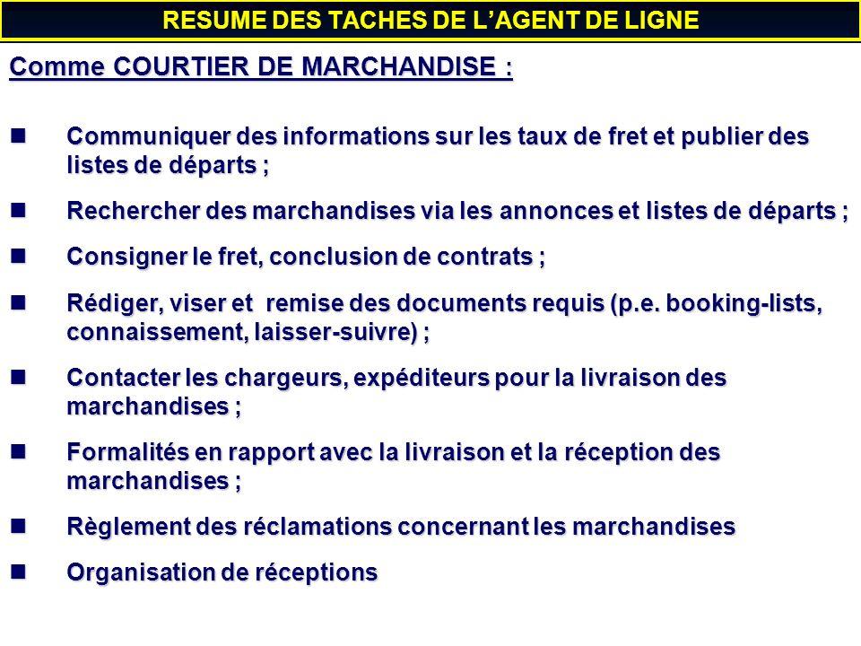 RESUME DES TACHES DE L'AGENT DE LIGNE
