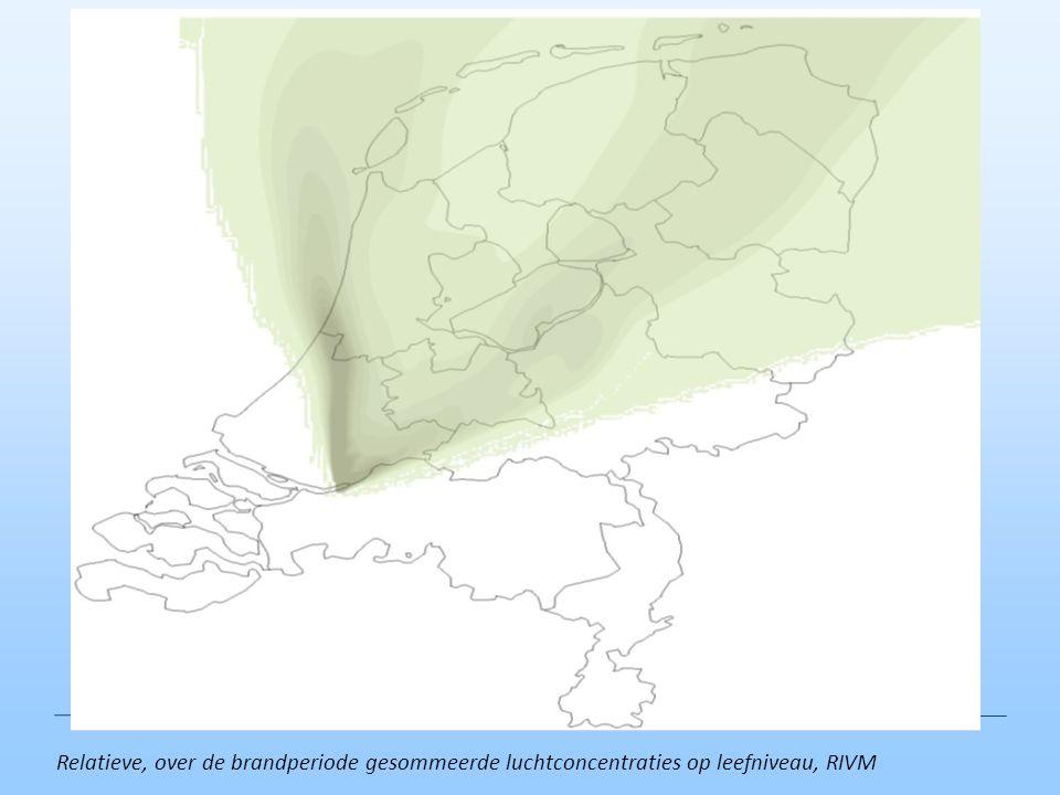 Relatieve, over de brandperiode gesommeerde luchtconcentraties op leefniveau, RIVM