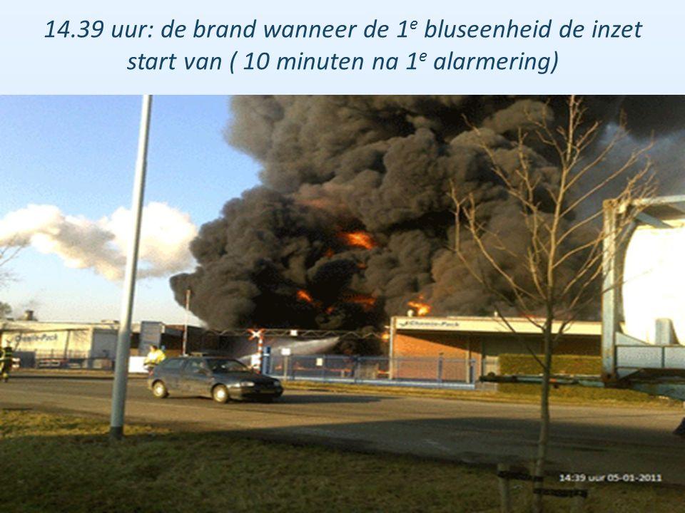 14.39 uur: de brand wanneer de 1e bluseenheid de inzet start van ( 10 minuten na 1e alarmering)