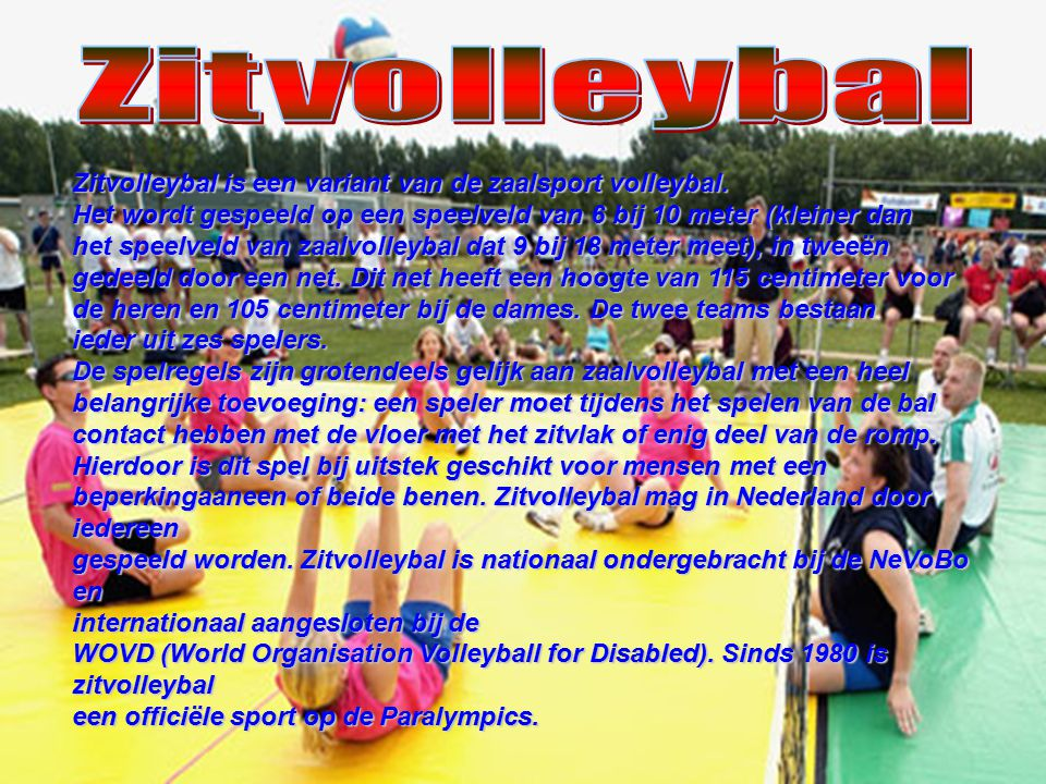 Zitvolleybal Zitvolleybal is een variant van de zaalsport volleybal.