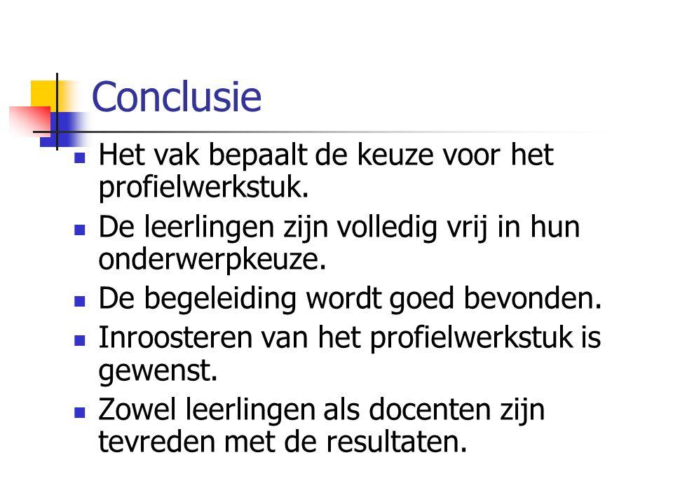 Conclusie Het vak bepaalt de keuze voor het profielwerkstuk.