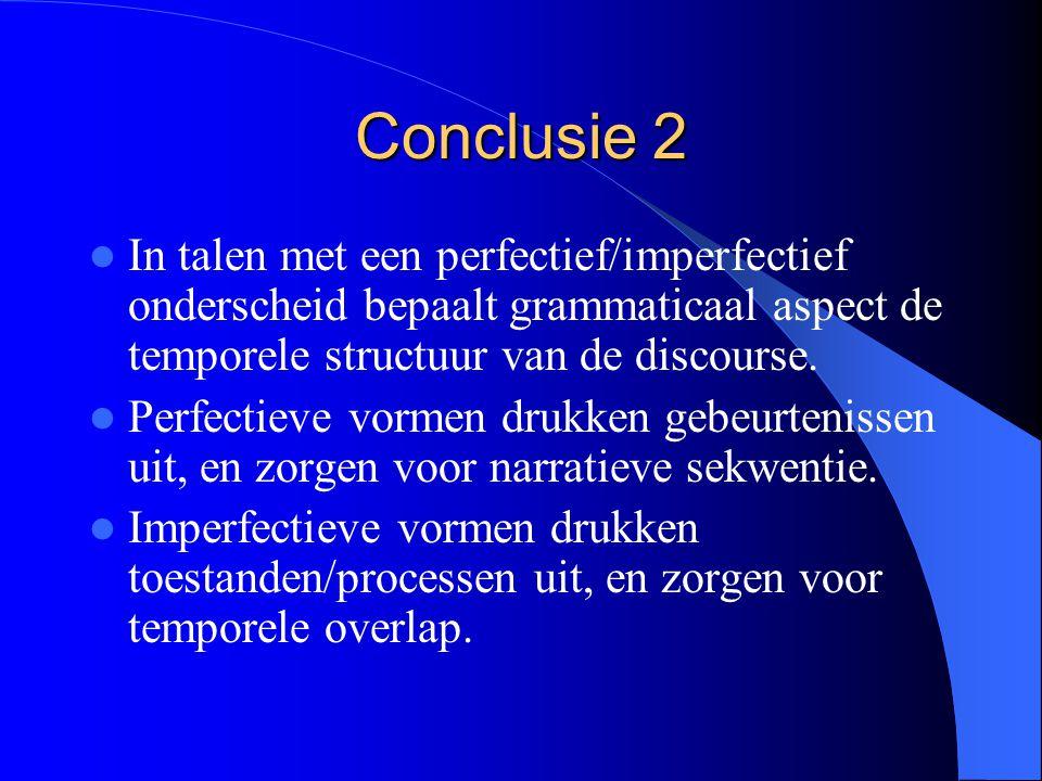 Conclusie 2 In talen met een perfectief/imperfectief onderscheid bepaalt grammaticaal aspect de temporele structuur van de discourse.