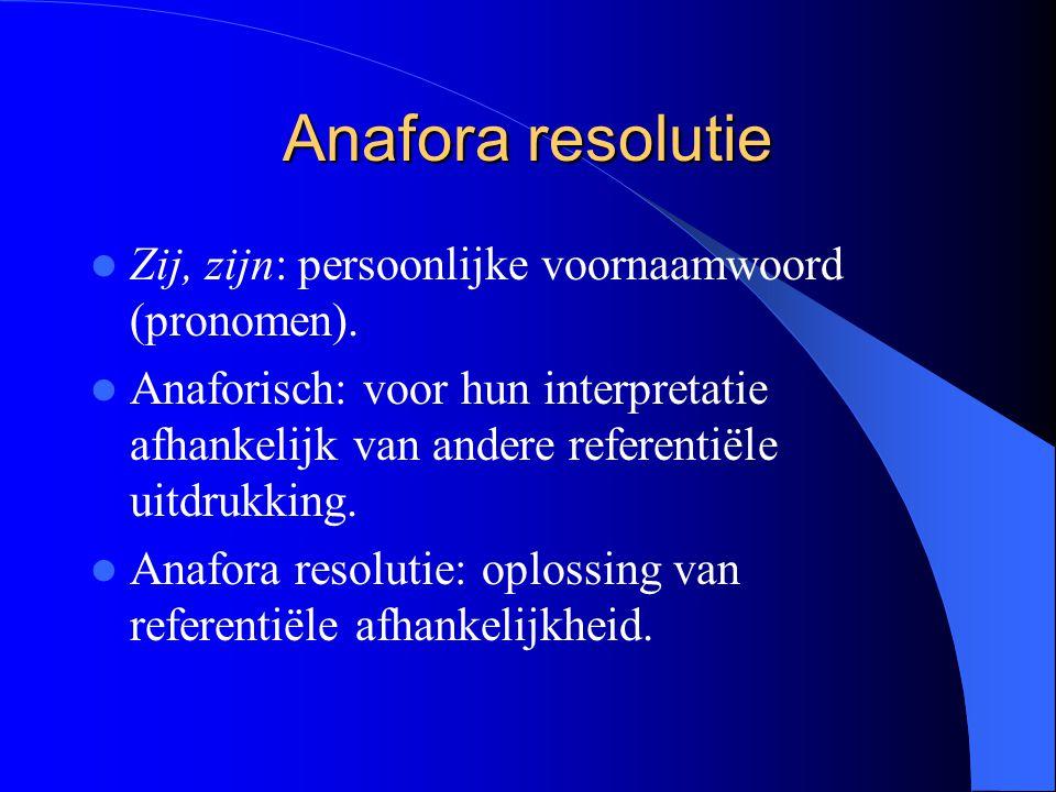 Anafora resolutie Zij, zijn: persoonlijke voornaamwoord (pronomen).