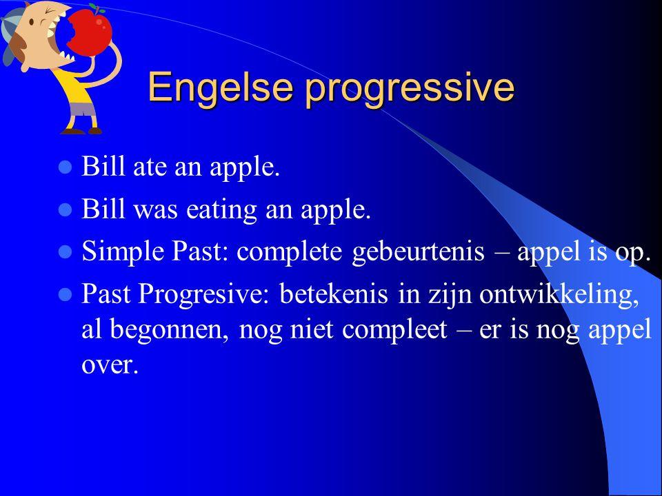 Engelse progressive Bill ate an apple. Bill was eating an apple.