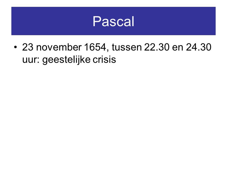 Pascal 23 november 1654, tussen 22.30 en 24.30 uur: geestelijke crisis