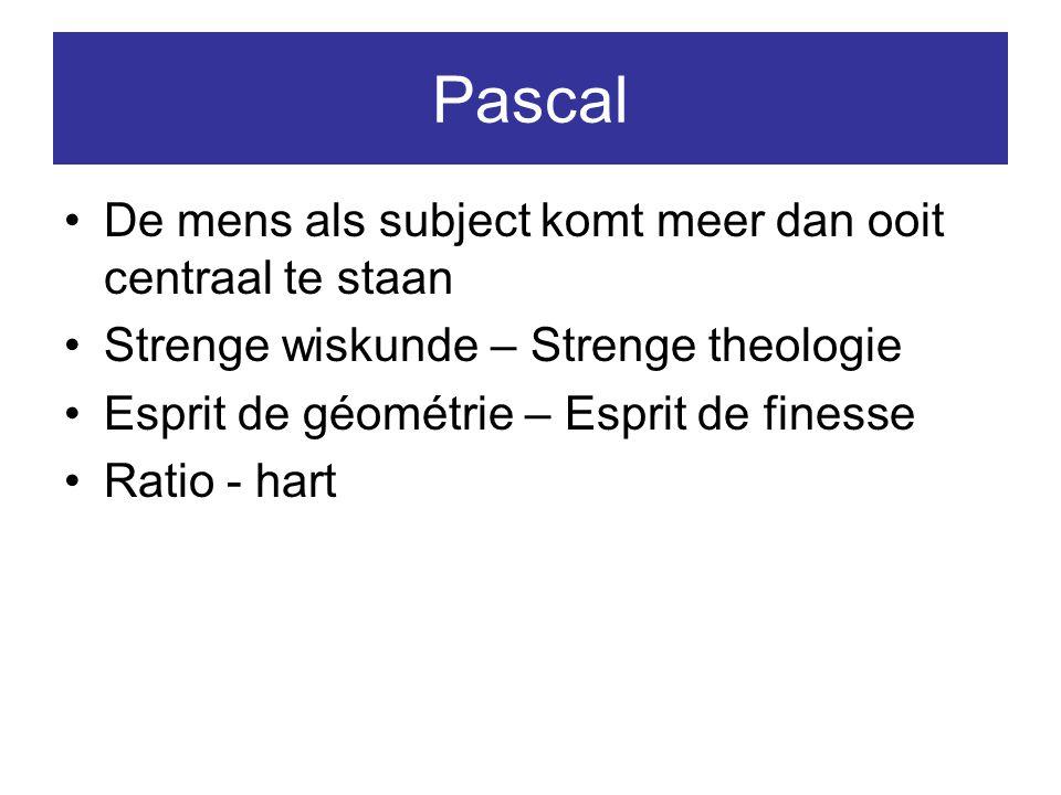 Pascal De mens als subject komt meer dan ooit centraal te staan