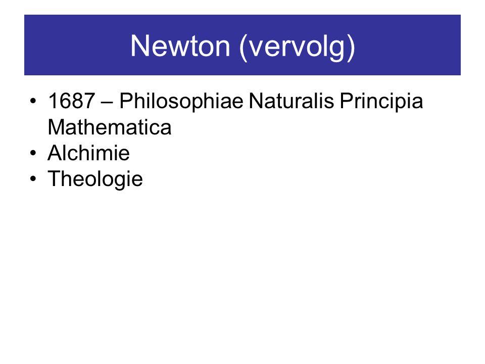 Newton (vervolg) 1687 – Philosophiae Naturalis Principia Mathematica