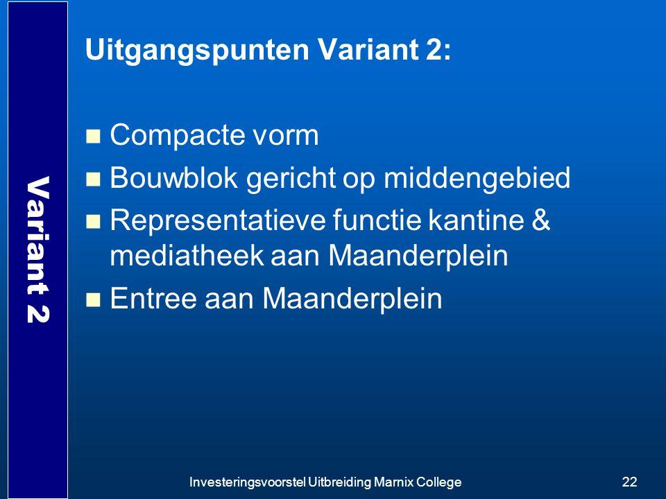 Uitgangspunten Variant 2: Compacte vorm