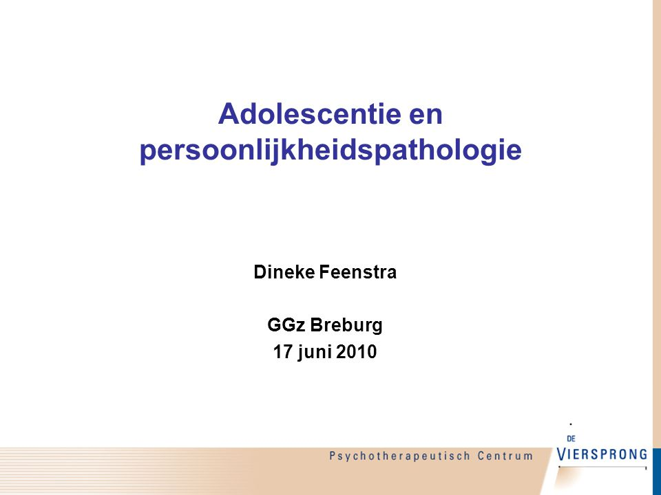 Adolescentie en persoonlijkheidspathologie
