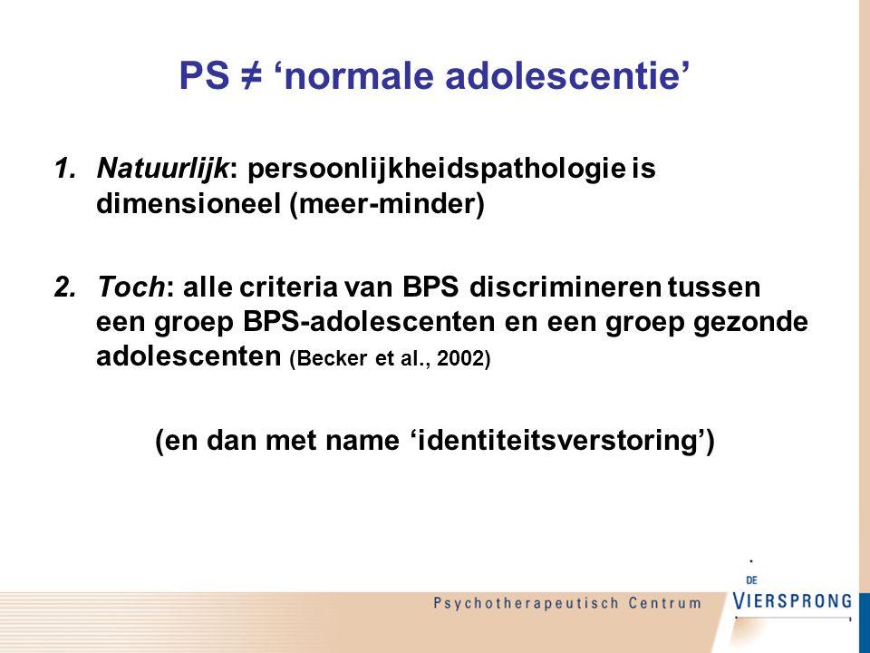 PS ≠ 'normale adolescentie'