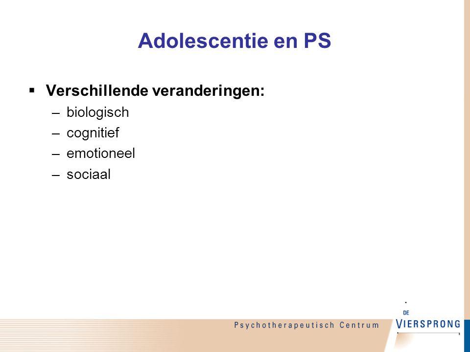Adolescentie en PS Verschillende veranderingen: biologisch cognitief