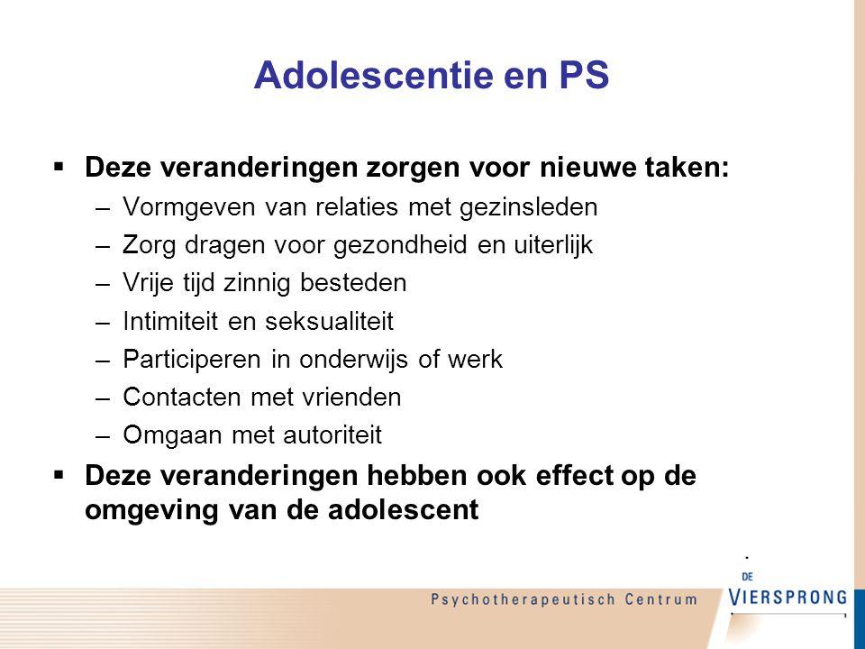 Adolescentie en PS Deze veranderingen zorgen voor nieuwe taken: