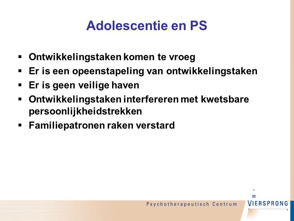 Adolescentie en PS Ontwikkelingstaken komen te vroeg