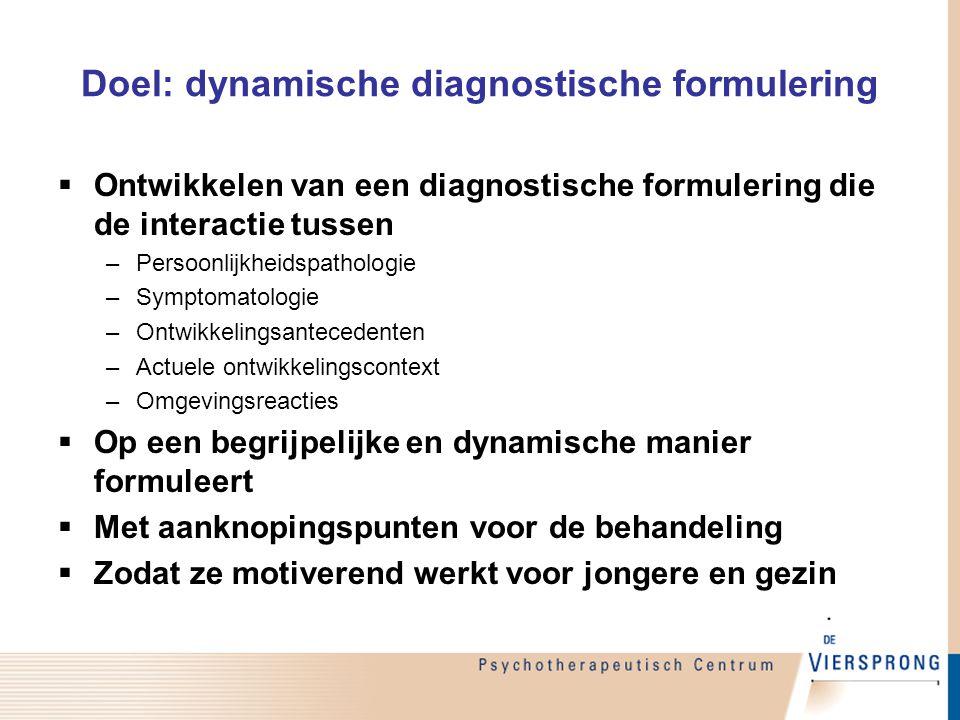 Doel: dynamische diagnostische formulering