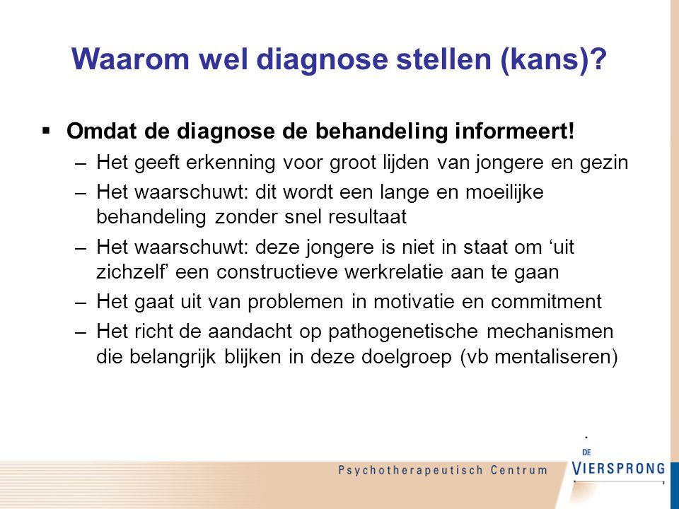 Waarom wel diagnose stellen (kans)