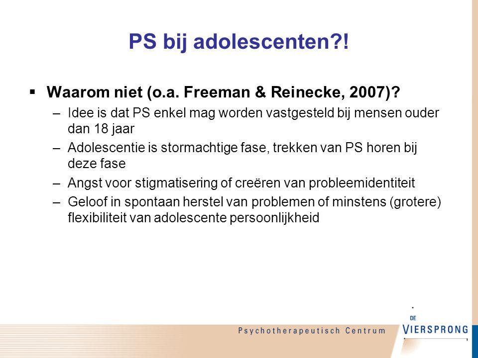 PS bij adolescenten ! Waarom niet (o.a. Freeman & Reinecke, 2007)