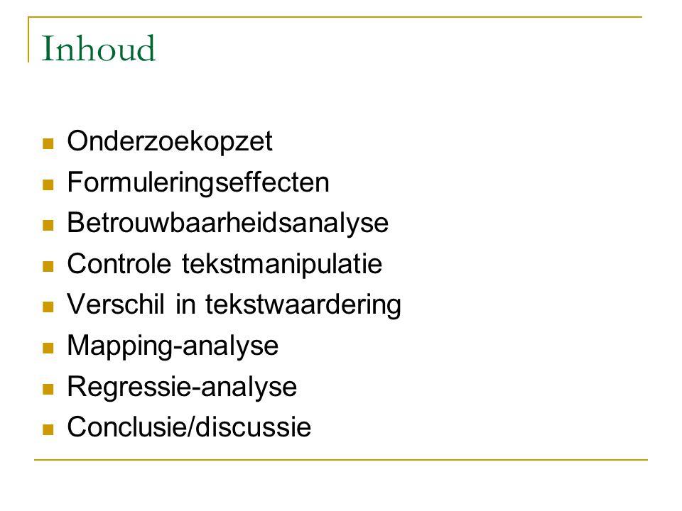 Inhoud Onderzoekopzet Formuleringseffecten Betrouwbaarheidsanalyse