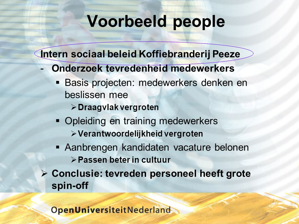 Voorbeeld people Intern sociaal beleid Koffiebranderij Peeze