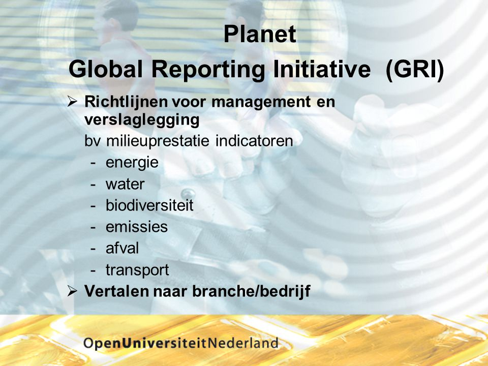 Planet Global Reporting Initiative (GRI)