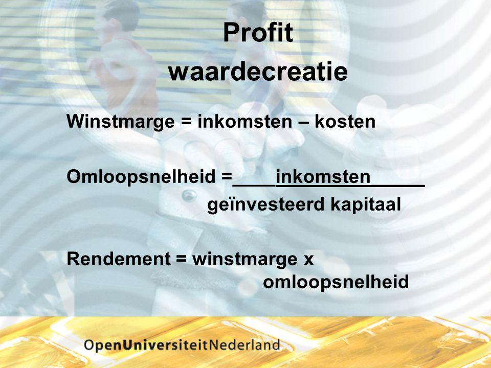 Profit waardecreatie Winstmarge = inkomsten – kosten