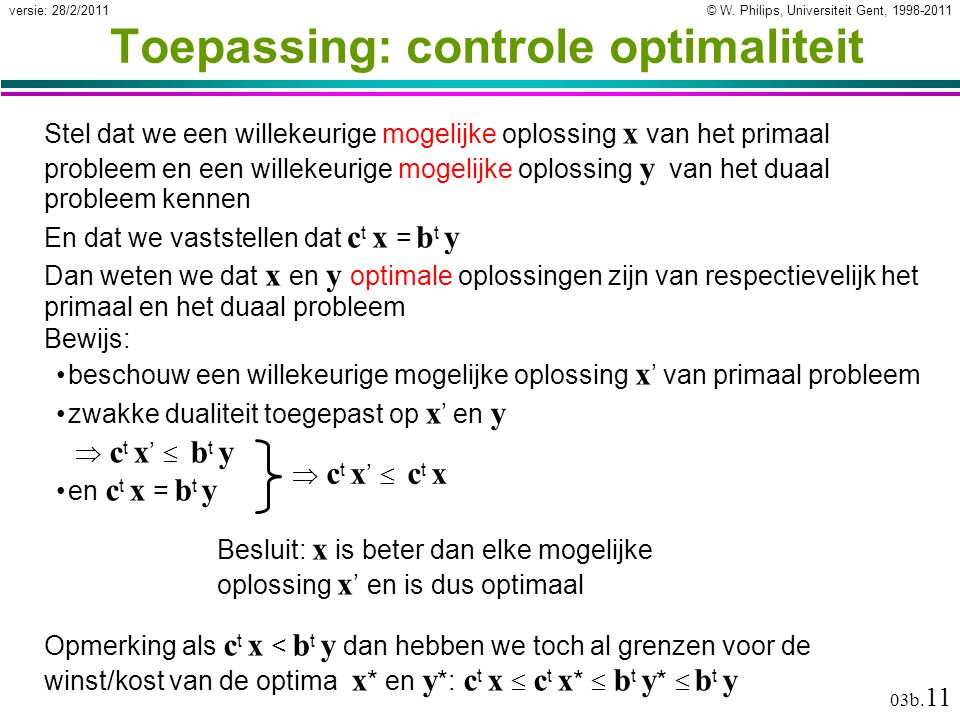 Toepassing: controle optimaliteit