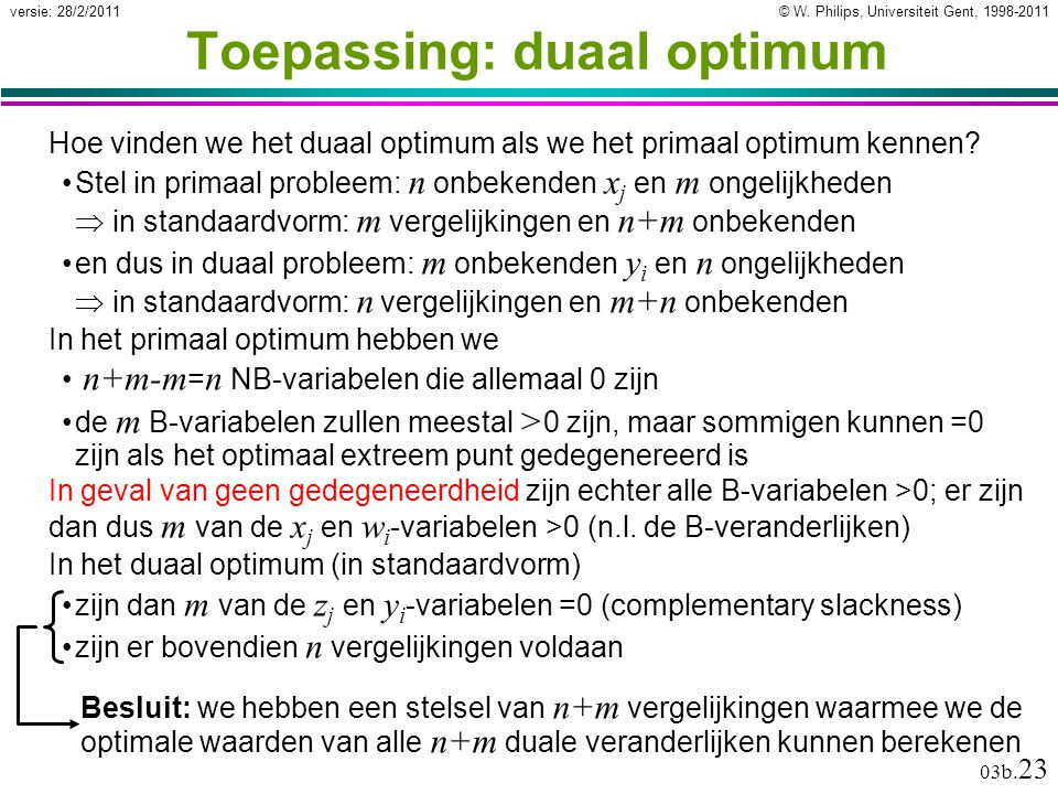 Toepassing: duaal optimum