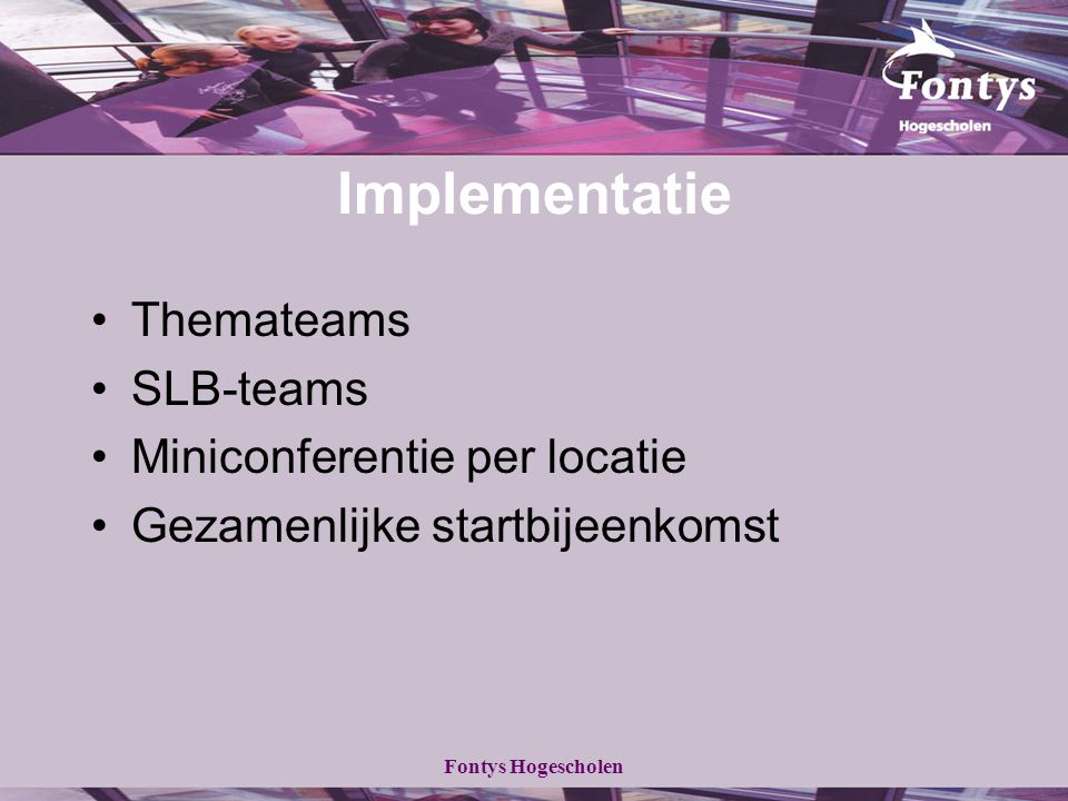 Implementatie Themateams SLB-teams Miniconferentie per locatie