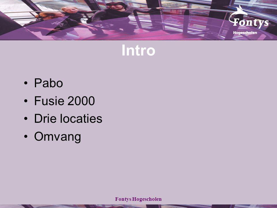 Intro Pabo Fusie 2000 Drie locaties Omvang Fontys Hogescholen