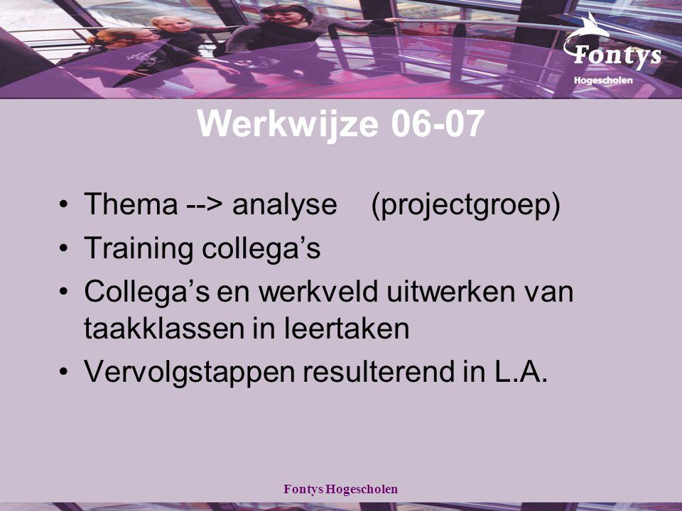 Werkwijze 06-07 Thema --> analyse (projectgroep) Training collega's
