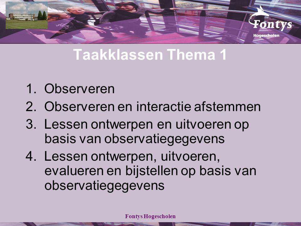 Taakklassen Thema 1 1. Observeren