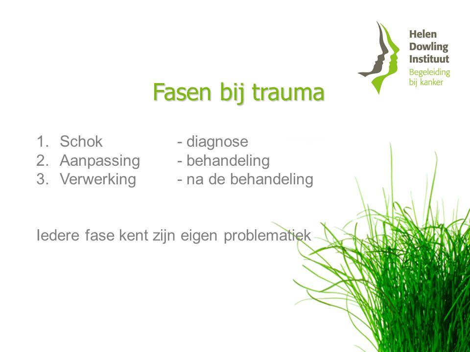 Fasen bij trauma Schok - diagnose Aanpassing - behandeling