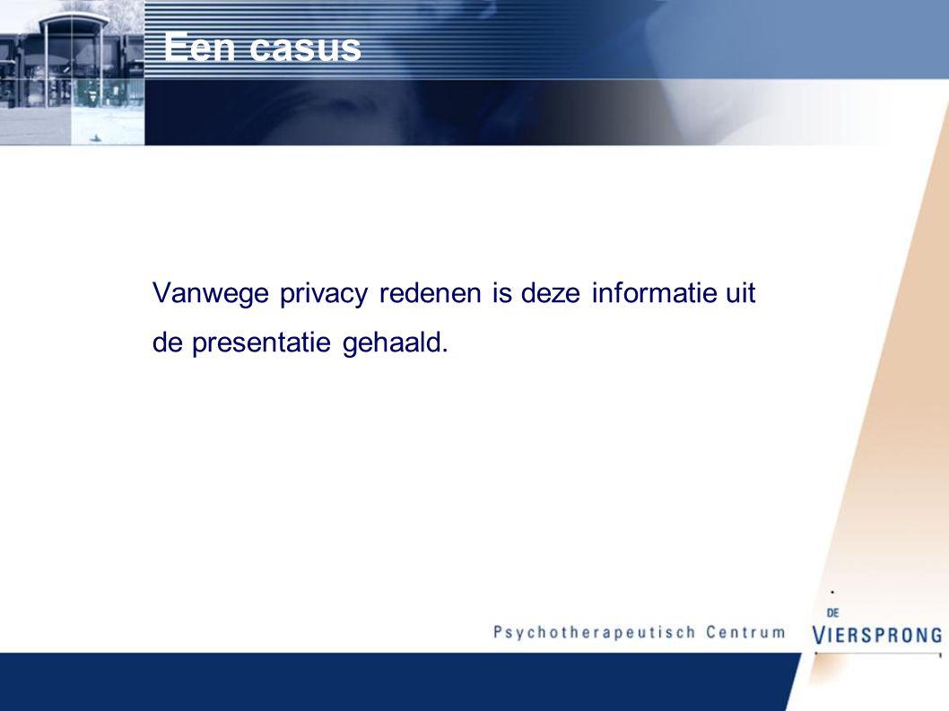 Een casus Vanwege privacy redenen is deze informatie uit