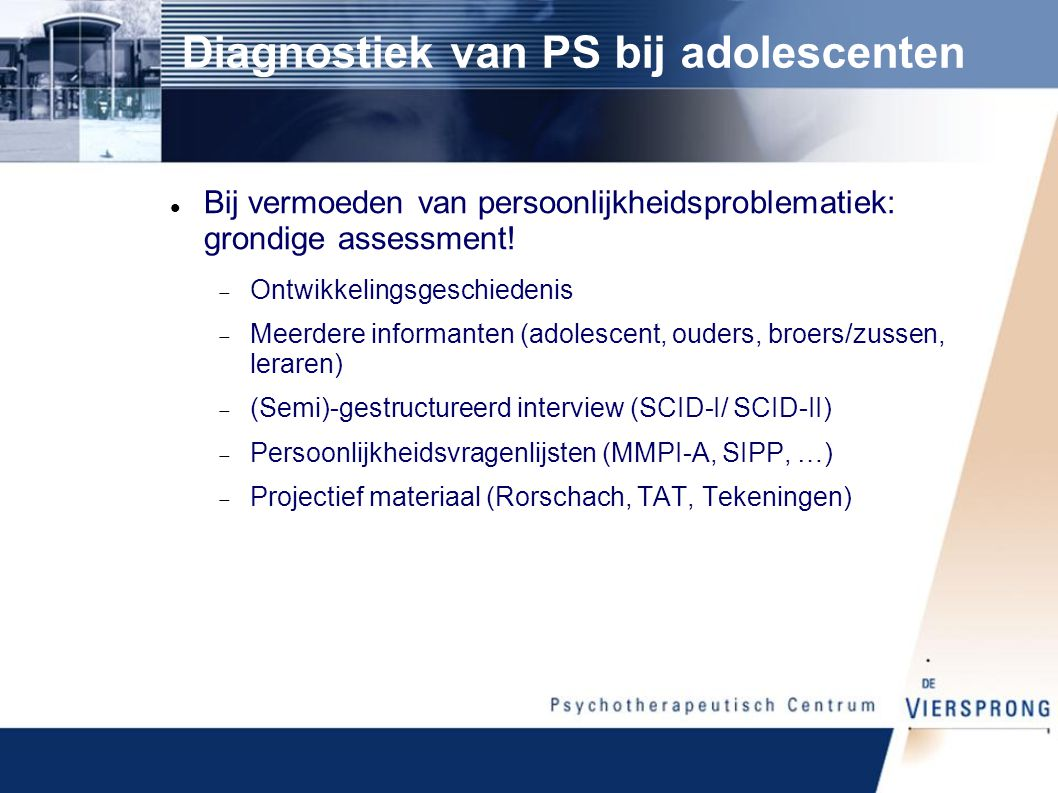 Diagnostiek van PS bij adolescenten