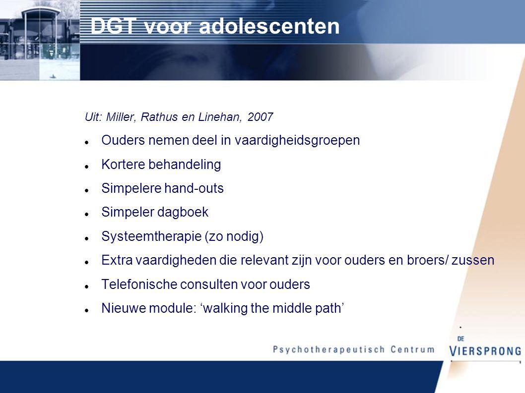 DGT voor adolescenten Ouders nemen deel in vaardigheidsgroepen
