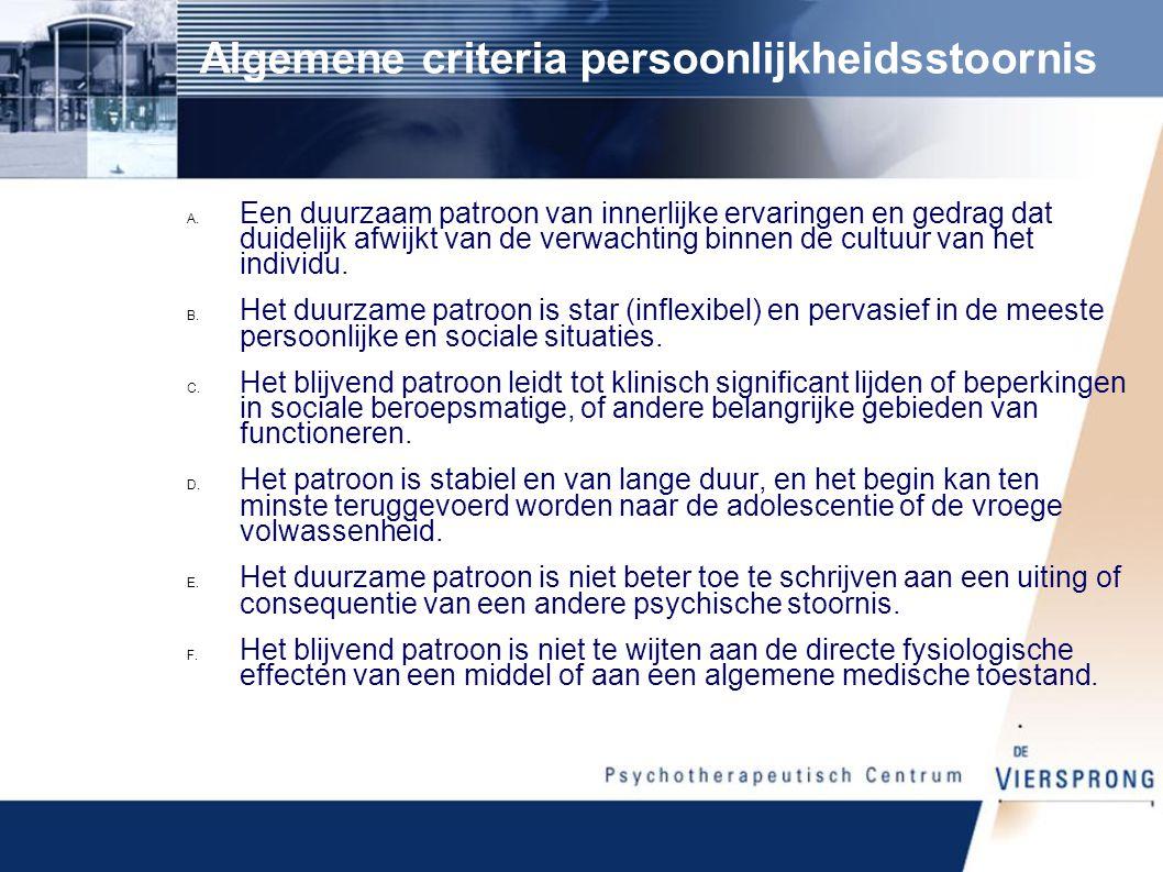 Algemene criteria persoonlijkheidsstoornis
