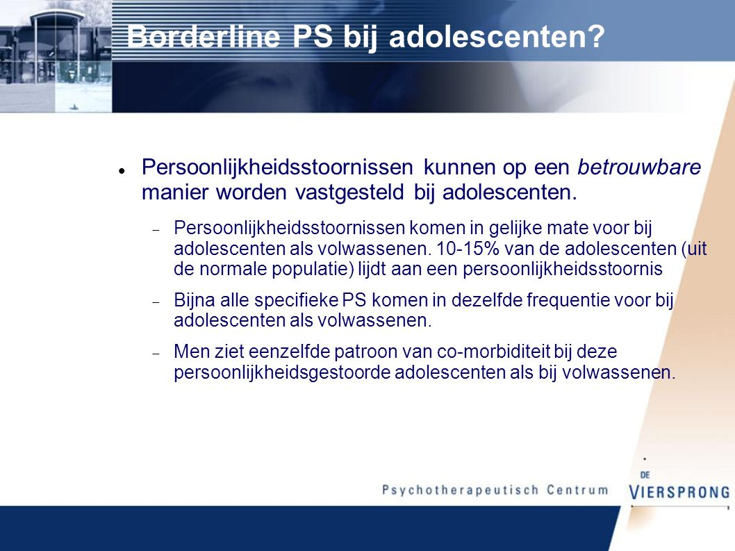 Borderline PS bij adolescenten